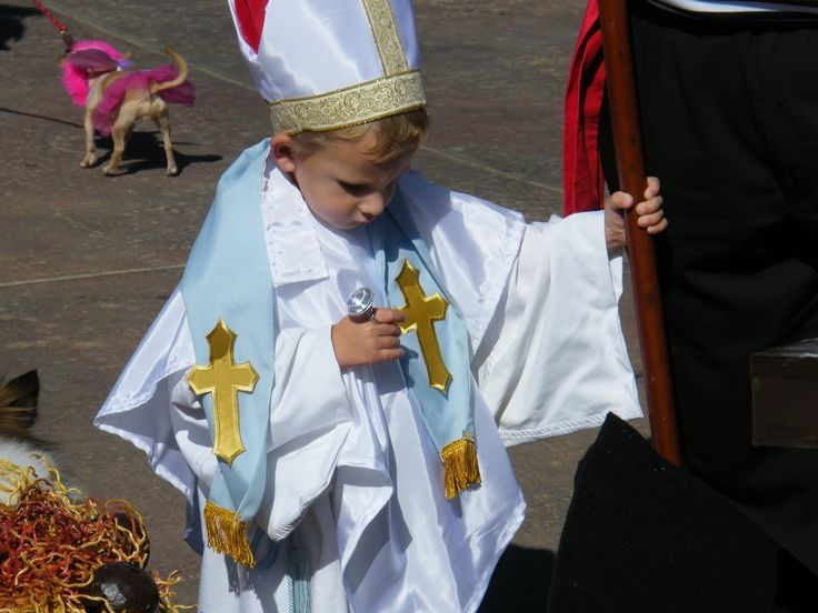 This is a very simple pope costume for a child (though it could easily be modified for an adult). It only took us 1 night and about $20 to make this costume. 1 trip to the fabric store for the trim pieces and taffeta. After our trip to Italy in 2010, we decided to recreate some of the memories for our Italian costume theme.