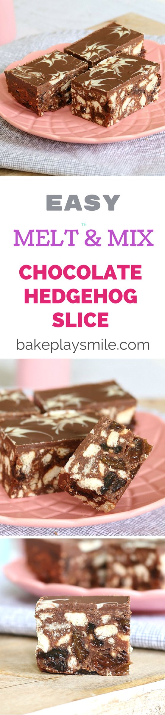 This is a family recipe that we've been using forever! It's the easiest No-Bake Chocolate Hedgehog Slice - all you do is melt and mix the ingredients together! I like to make mine nut-free - but you can add chopped nuts if you like! #hedgehog #slice #bars #nobake #chocolate #easy #thermomix #conventional