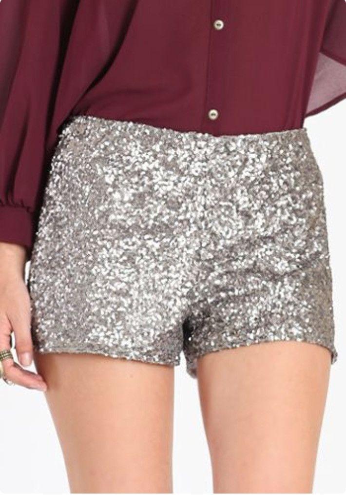 Silver Sparkle shorts sequin shorts