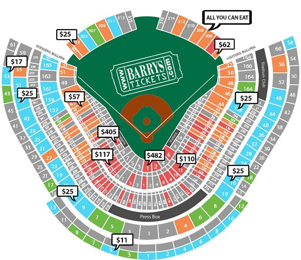 Dodgers seating chart with prices