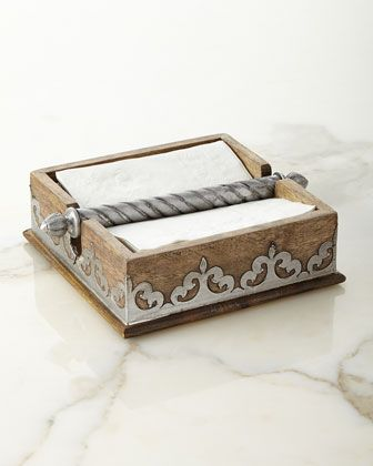 Wood & Metal Napkin Holder by+GG Collection at Horchow.