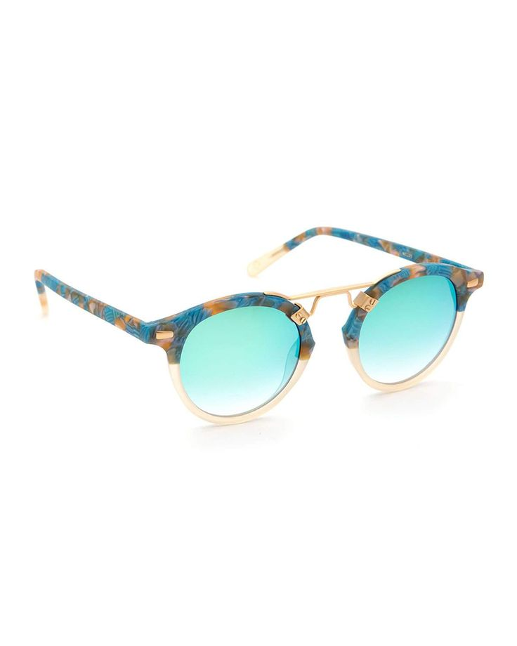 KREWE St. Louis Round Two-Tone Sunglasses, Neutral/Blue