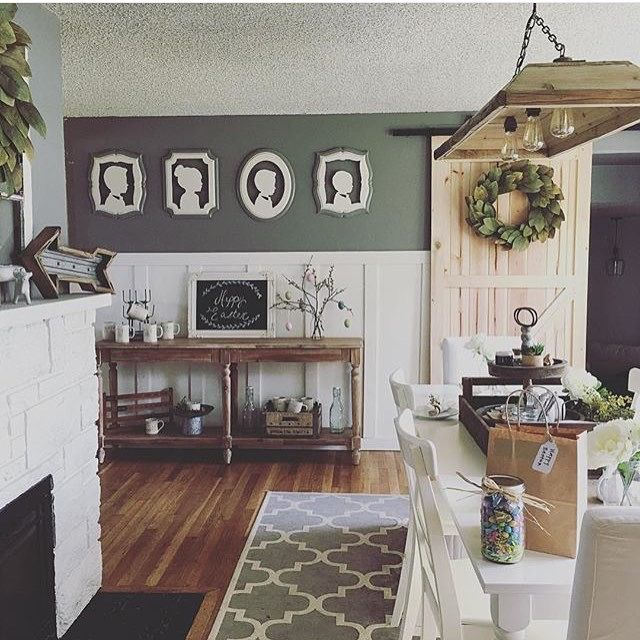 I like the runner for the hall or like this in front of the fireplace with 2 grey fabric armchairs. AND I like the grey wall above the high white wainscotting.
