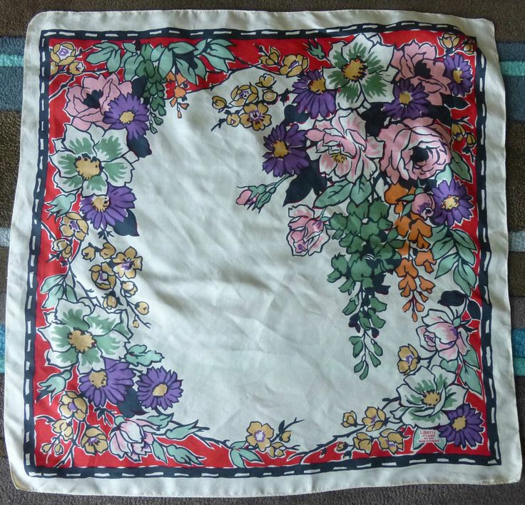 Small Vintage LIBERTY Silk Scarf 60cm Pretty Floral Print