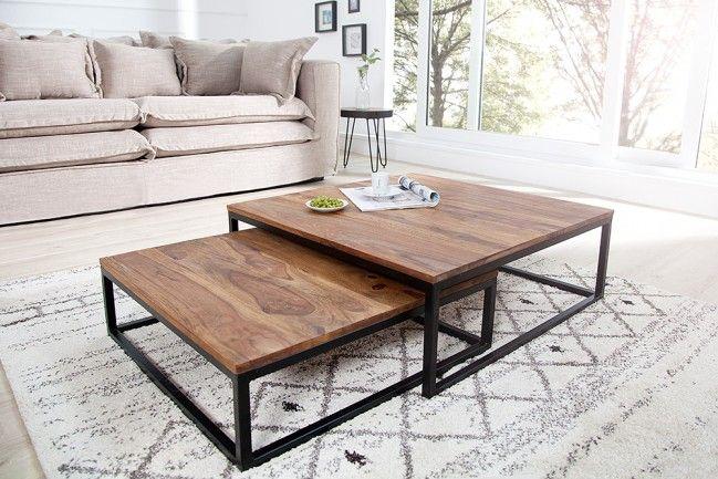 Design Couchtisch 2er Set ELEMENTS 75cm Sheesham stone finish Eisen schwarz matt | Riess-Ambiente.de