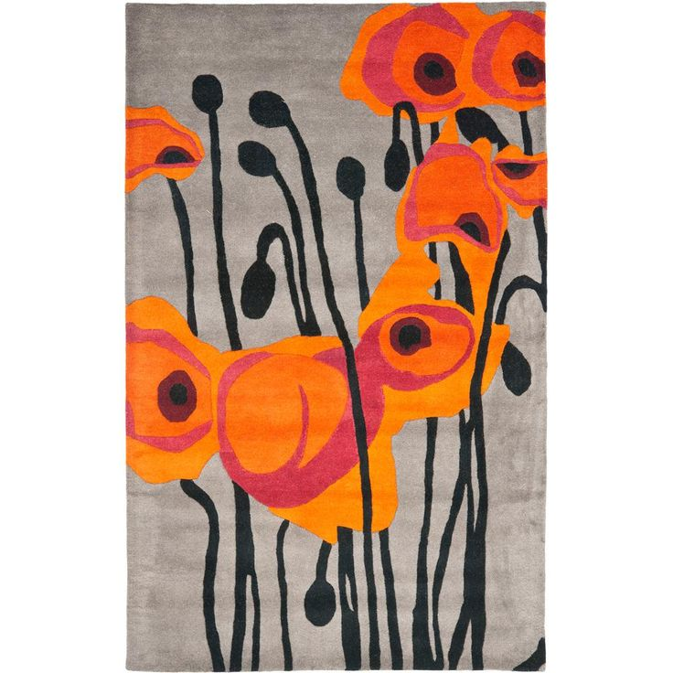 Soho Gray/Orange 5 ft. x 8 ft. Area Rug