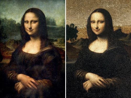 ルーブル美術館に展示されている「モナリザ」(左)と、スイスのモナリザ財団がダビンチの作品と発表したもう一枚の「モナリザ」=AFP時事  記事「「モナリザ」もう1枚? 「ダビンチ作」の鑑定結果」より