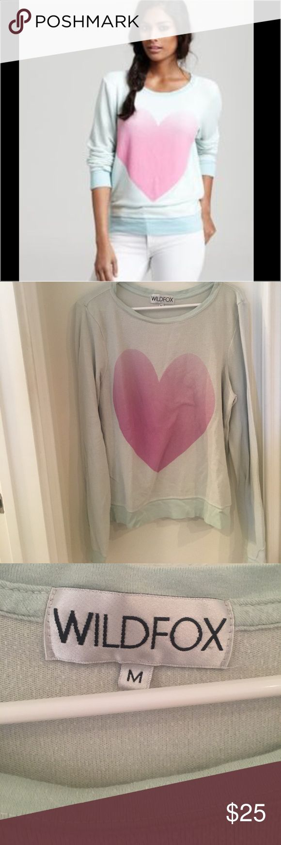 Wildfox Mint Green Big Heart Sweater Size Medium Mint Green Wildfox Big Heart Sweater. Slightly distressed pulled look as shown in photos. Light, soft fabric. Wildfox Sweaters Crew & Scoop Necks