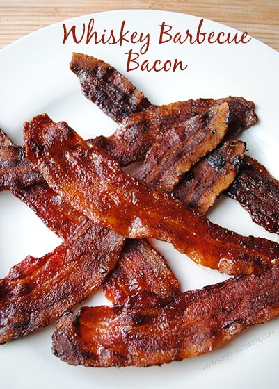 Whiskey Barbecue Bacon - bake bacon in the oven and schmear it with whiskey and a quick homemade barbecue sauce!