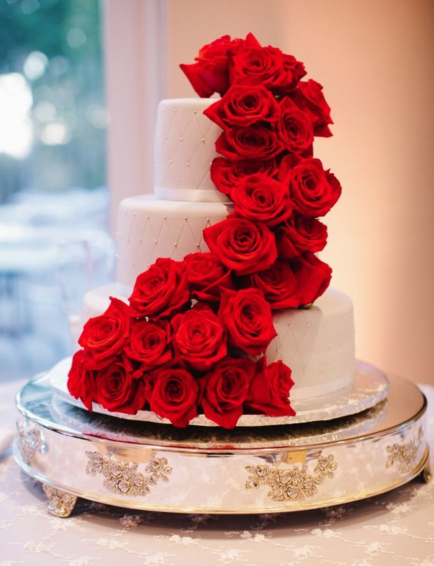 striking red rose wedding cake; Featured Photographer: Jerry Yoon Photography