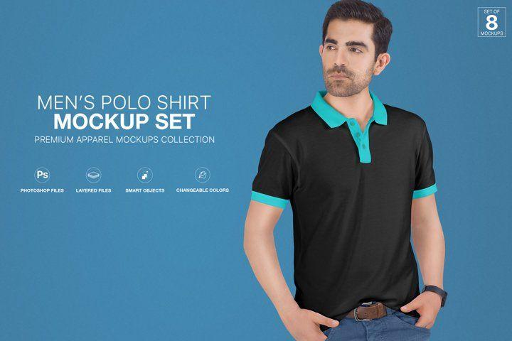 Download Mens Polo T Shirt Mockup Set Advertise Advertising Apparel Blank Branding Casual Fashion Isolated Lifestyle Shirt Mockup Clothing Mockup Tshirt Mockup