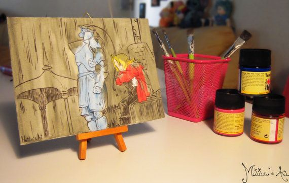 Fullmetal Alchemist canvas hand painted by Matita's Art