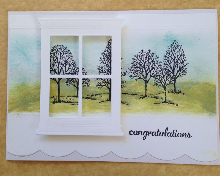 "Card ~ S/U Card stock & ""Lovely as A Tree"" stamp set, Memory Box Window."