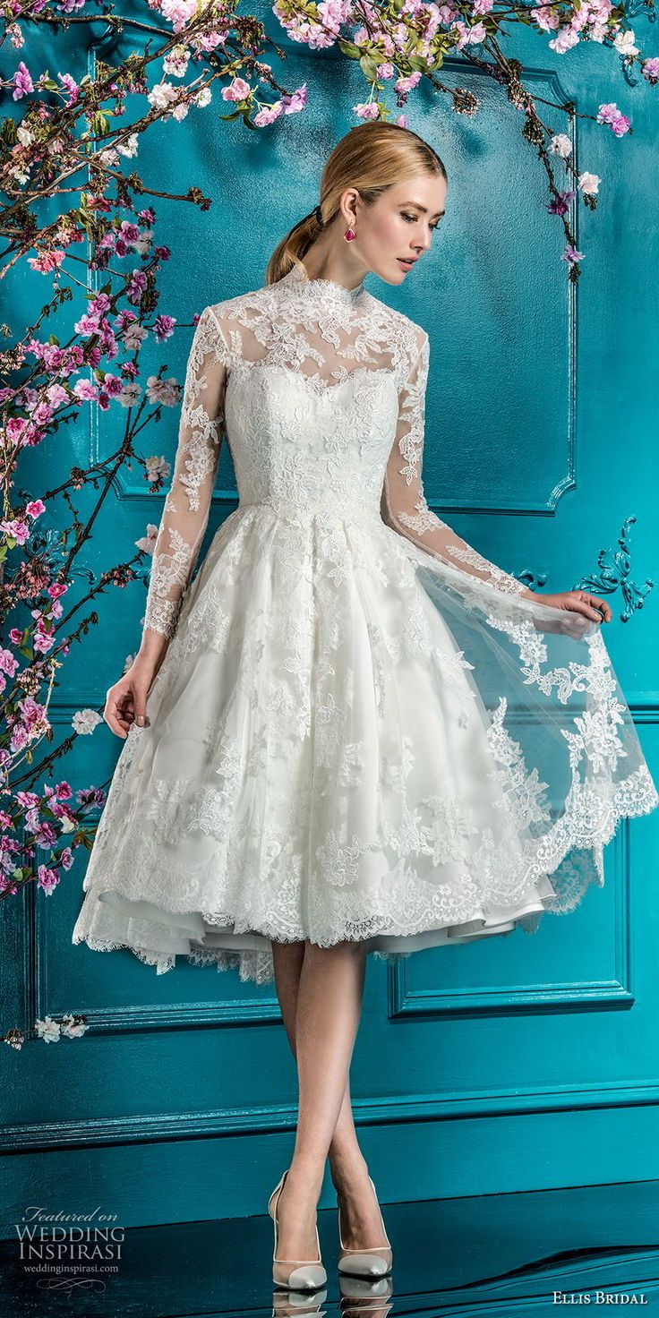 ellis bridals 2018 long sleeves illusion high neck sweetheart neckline full embellishment romantic pretty knee length short wedding dress keyhole back (4) mv -- Ellis Bridals 2018 Wedding Dresses #shortweddingdress #wedding