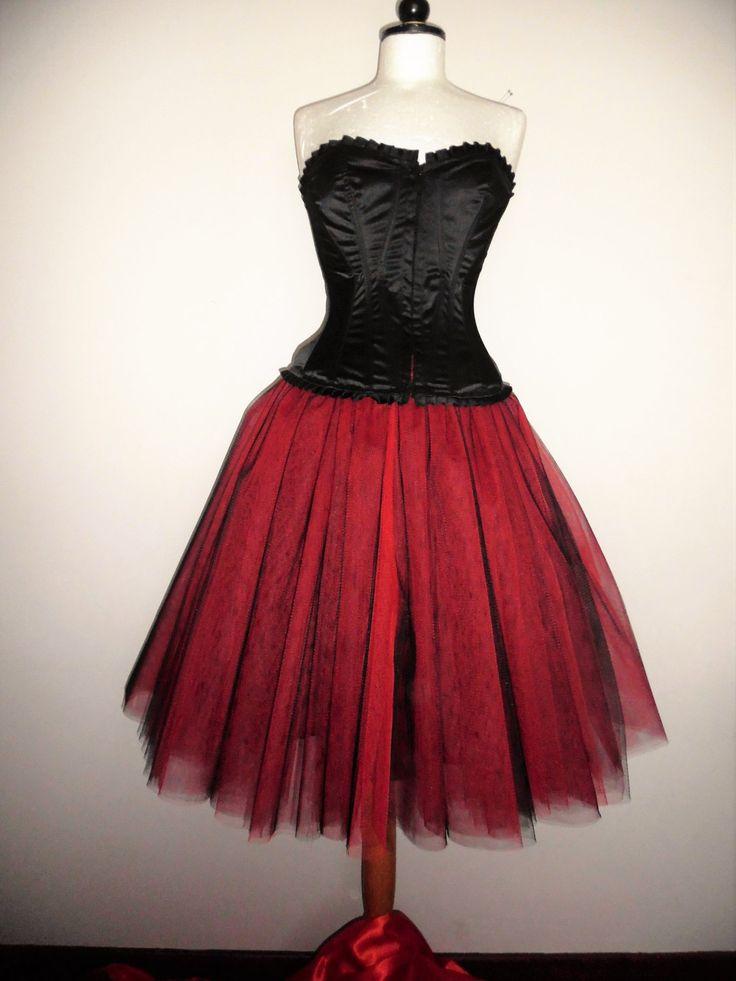 Tutu Skirt Adult Below The Knee Red Black Tulle Goth Punk Fairy Weddings