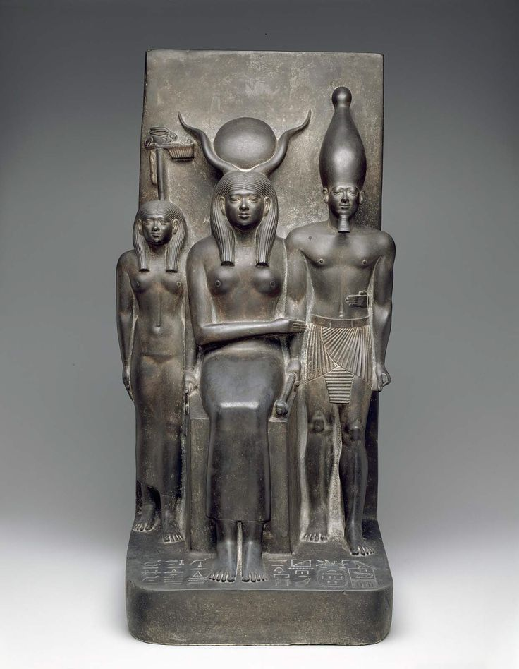 King Menkaura, the goddess Hathor, and the deified Hare nome. Egyptian, Old Kingdom, 4th Dynasty, reign of Menkaura, 2490-2472 B.C.