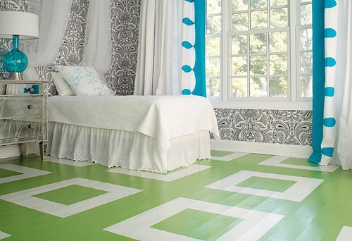 painted floors for kitchen, not this bright or color but idea.  love the squares though