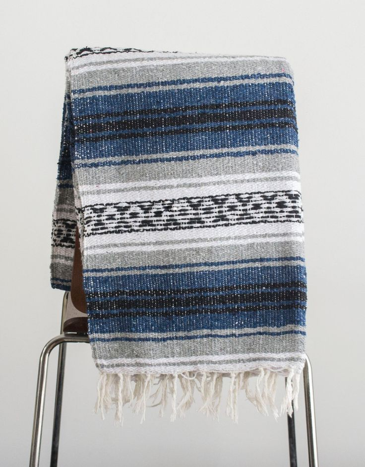 Mexican Blanket Blue & Grey Yoga Blanket, Hand Woven, Sarape, Aztec Throw Falsa