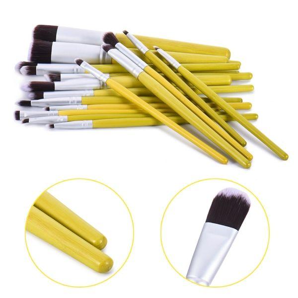 18pcs Green Bamboo Professional Makeup Brushes