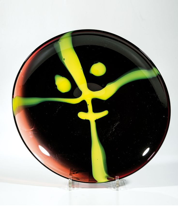 "Lubomir Blecha - decorative glass disc from serie ""Face of glass"", 1957, D: 35,0 cm, glassworks Skrdlovice. Finally, the glass disc itself became a vivid observer of visitors to the exhibition EXPO`58, by this way was accomplished the seemingly magical transformation of inanimate object and a human"