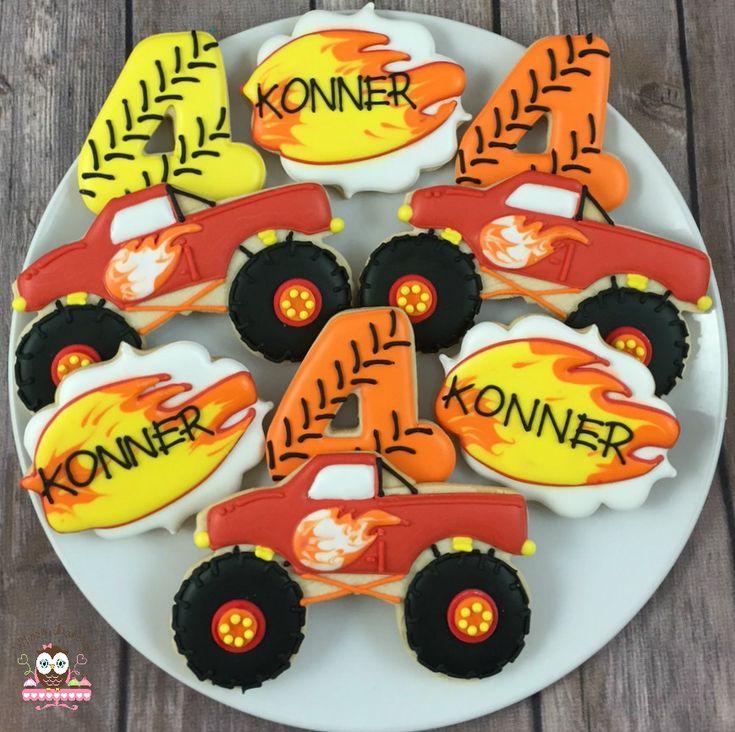 Monster Truck Cookies, Cookies for him, Blaze Cookies
