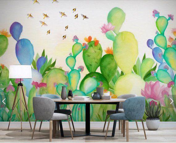 Hand Painted Cactus Flower Wallpaper Mural Art Wall Decals