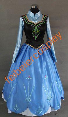 Película de Disney Disfraz Cosplay Frozen Anna Vestido hecho para adultos y niños