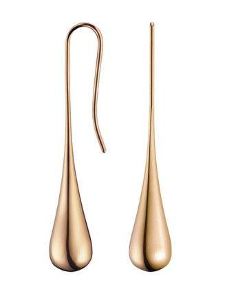Ellipse Polished Rose Gold Pvd Drop Earrings