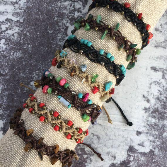 Beaded Adjustable Macramé Bracelet