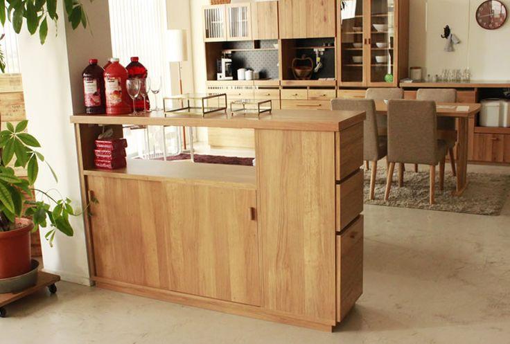 ナチュラル&シンプル ダイニングボード アイランドカウンター OCTA オクタ 150間仕切りカウンター キッチン収納家具