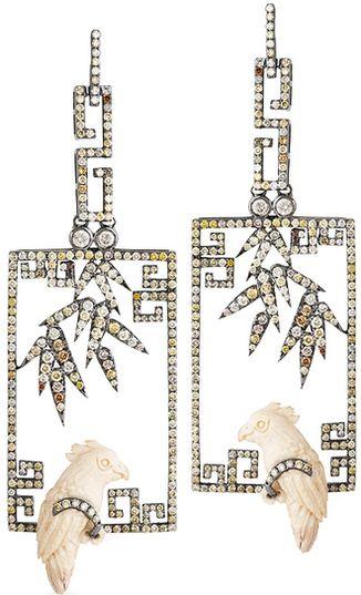 Bochic - Fretwork+Bamboo+Parrot earrings