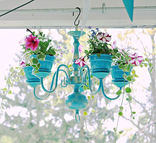 Plant Your Furniture! • Tons of Ideas & Tutorials! Including this DIY chandelier planter from diy show off.