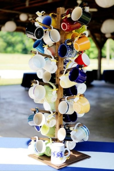 coffee mugs given as wedding favors--cool idea.