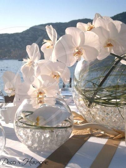 Centre de table: beargrass+orchidées blanche+perles d'eau= sobre et élégant.