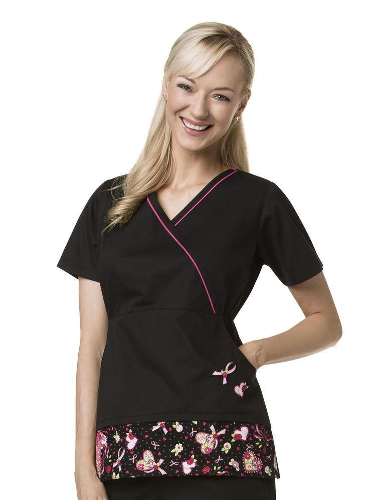 Black Applique Breast Cancer Awareness Scrub Top by ME - Part of the Pink Fund #Cancer Awareness Scrubs