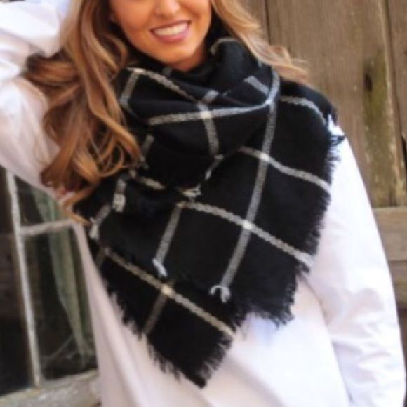 Black scarf white grid super soft must have Brand new black scarf with white grid. 100% acrylic fiber. Must have!! Approximately 80 x 34 inches Accessories Scarves & Wraps