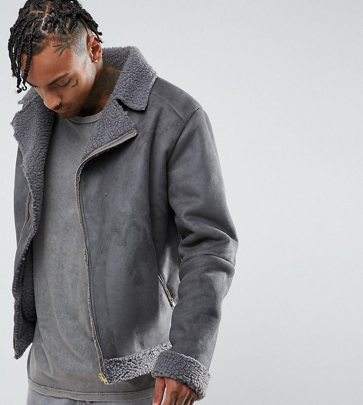 The New County Oversized Faux Shearling Biker Jacket - Gray