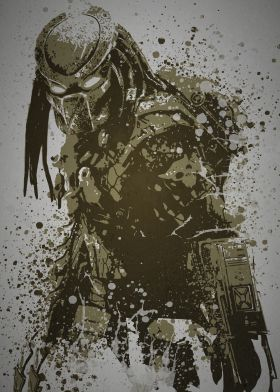 "For the media room!!  ""Predator""  Splatter effect artwork inspired by the Predator from The Predator films"