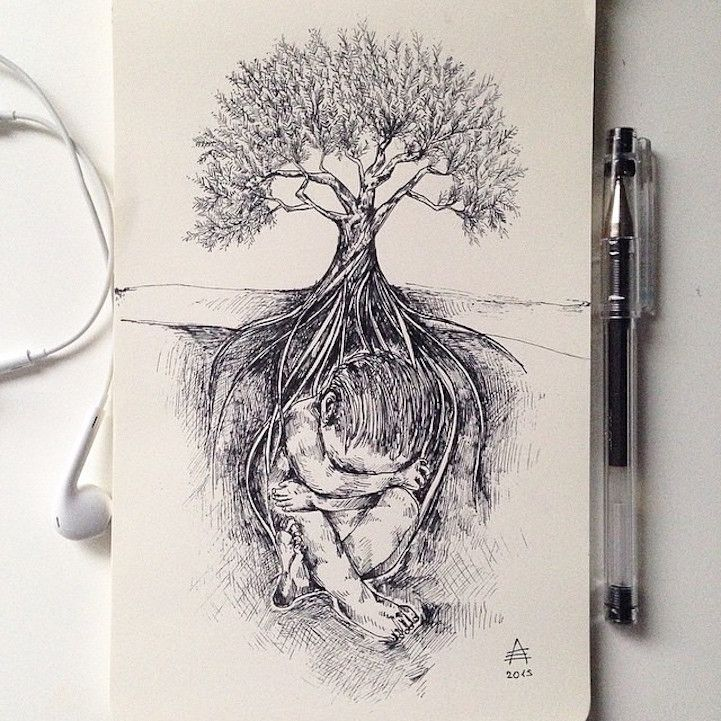 Intricate Pen Drawings Interweave Elements of the Natural World – Megan Quimby