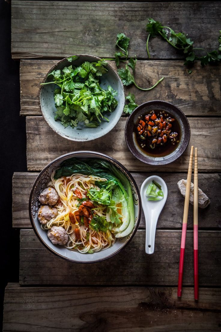 Easy breezy authentic Chinese meatballs noodle soup