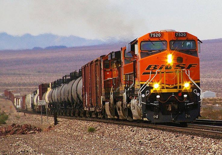 Burlington Northern Santa Fe trains near Ludlow, California.