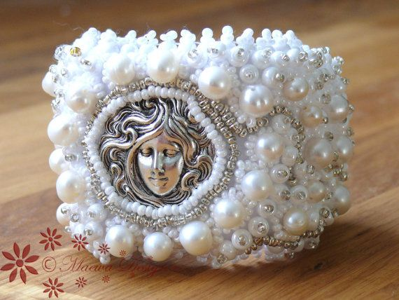Bead Embroidered Bracelet Bridal Cuff Perfect WHITE by MaewaDesign, €59.00