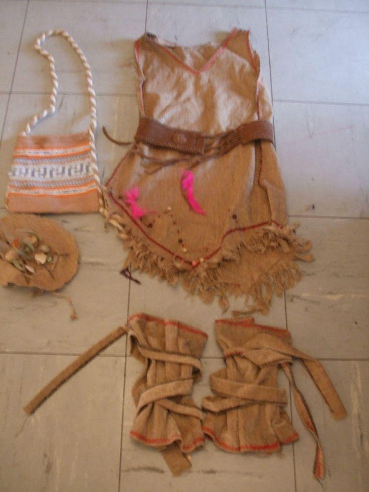 Kostüm Indianerin Squaw Handarbeit Perlen Kräuterbeutel 7 - 8 Jahre 116 122