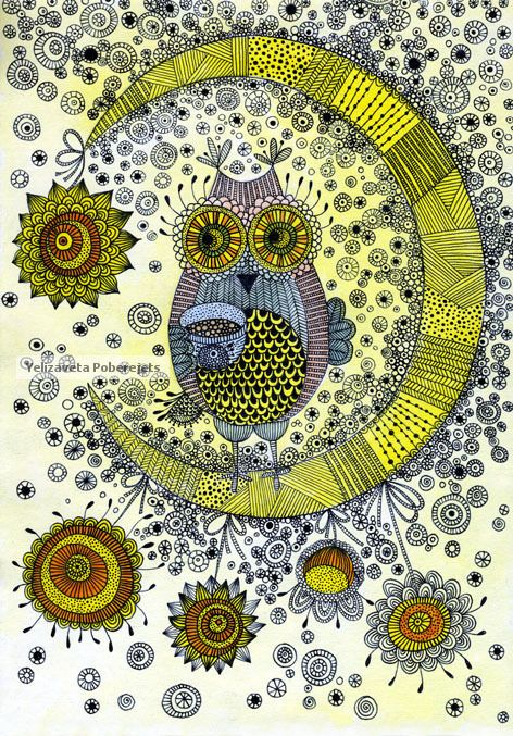 """I just love love love the fact that there is a pinboard """"Zentangle Owls"""" around here! :)"""
