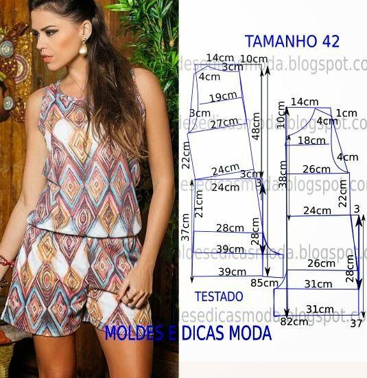 MOLDE DE MACACÃO FÁCIL -14 ~ Moldes Moda por Medida