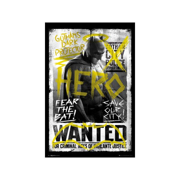 Batman vs. Superman- Batman Wanted Poster ($9.99) ❤ liked on Polyvore featuring home, home decor, wall art, superman poster, batman wall art, batman poster, superman wall art and batman superman poster