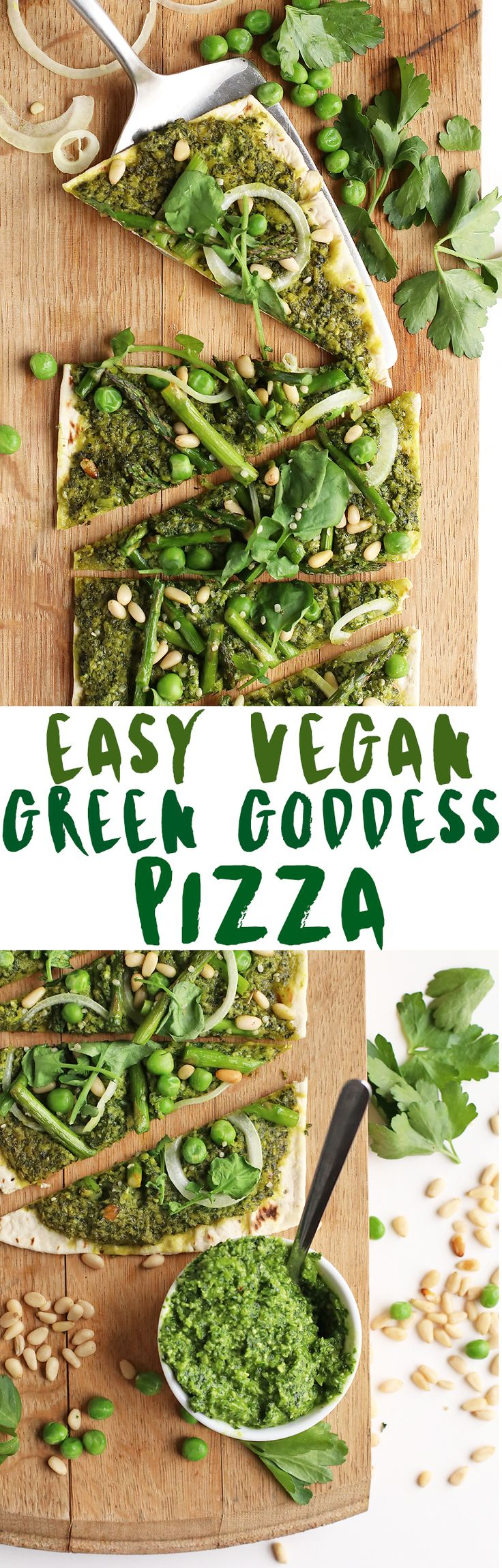 Lighten up with this vegan Green Goddess Pizza, with Kale Pesto, seasonal vegetables, and @flatoutbread Pizza Crust for a healthy and delicious springtime meal.
