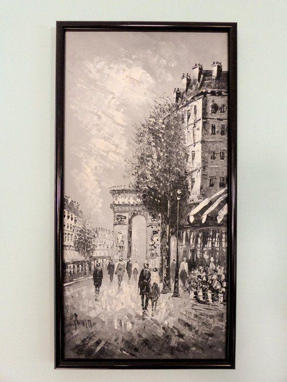 Caroline Burnett Original Oil Painting Black And White Impressionism Parisian Street Scene Champ D Elysee Arc De Trio Original Oil Painting Painting Canvas Art