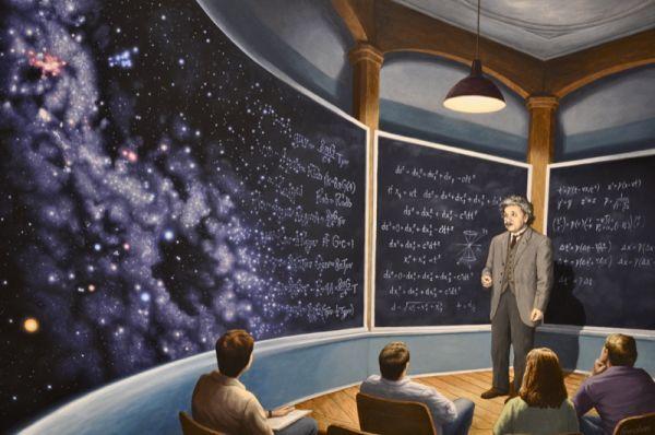 Reproduction de Rob Gonsalves, The chalkboard universe (L'univers du tableau noir). Tableau peint à la main dans nos ateliers. Peinture à l'huile sur toile.