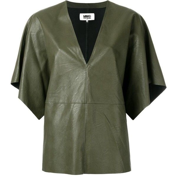 Mm6 Maison Margiela Leather Effect Boxy T-shirt (£280) ❤ liked on Polyvore featuring tops, t-shirts, mm6 maison margiela, leather tee, green top, leather tops and leather t shirt